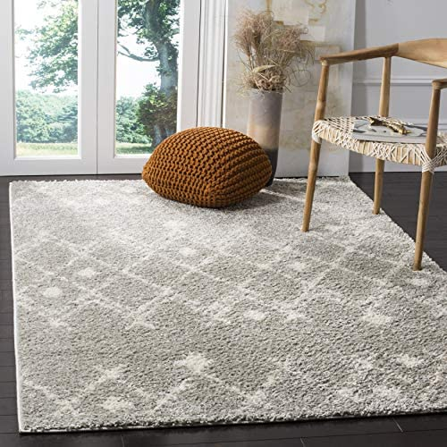 Safavieh Berber Shag Collection BER164B Light Grey and Cream 10' x 14' Area Rug