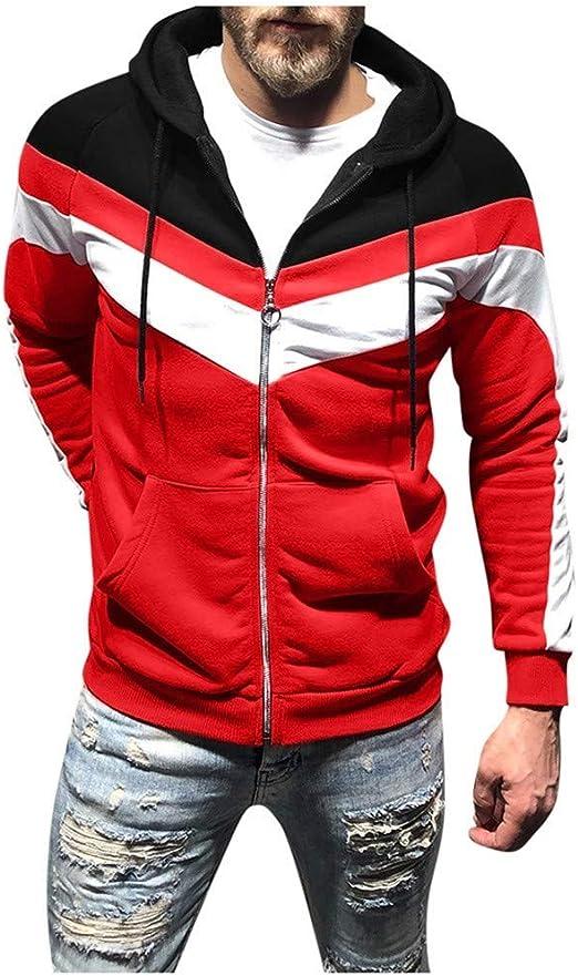 Mens Sweatshirt Beautyfine Long Sleeve Patchwork Hoodie Hooded Top Outwear Blouse