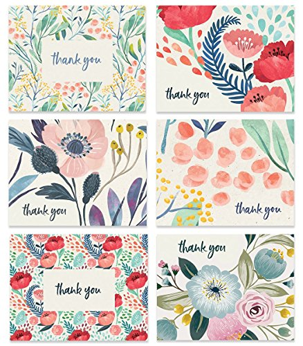 Boho Floral Thank You Cards (Set of 24) Assorted 6 Designs Any Occasion Beautiful Bridal Shower Baby Folded Notecards & Envelopes Variety Blank Inside Personal Stationery Excellent Value VTA0005B