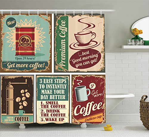 Espresso Poster Bed - Ambesonne 1950s Decor Collection, Coffee Posters and Metal Signs Artistic Design Bean Cup Tin Espresso Mug Cappuccino Logo, Polyester Fabric Bathroom Shower Curtain Set with Hooks, Ivory Red Blue