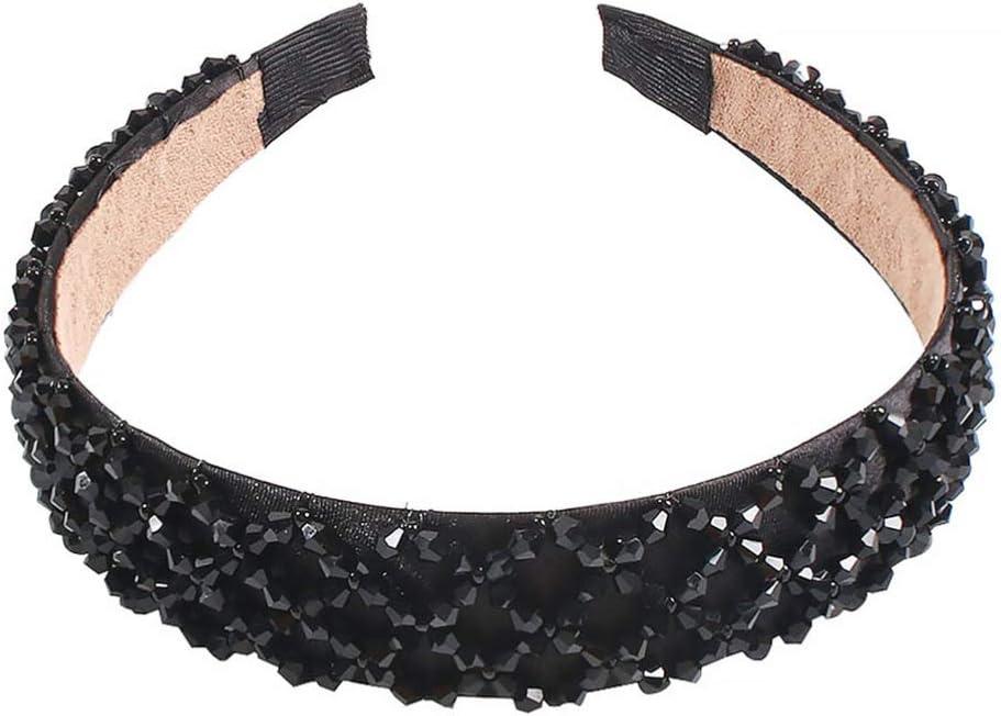 Lurrose diadema de cristal de imitación diadema de borde ancho aro de cabeza de brillo colorido elegante encanto sombreros para mujer niña negro