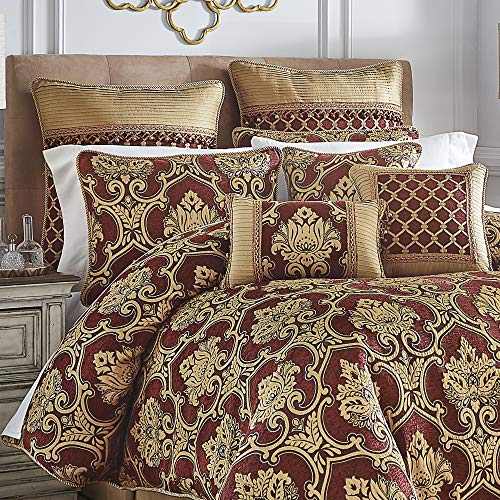 Croscill Gianna Comforter Set, Queen, Red (Bedspread And Gold Red)