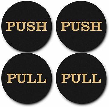 - 2 Sets 2 Round Push Pull Door Signs Black-Gold 4pcs