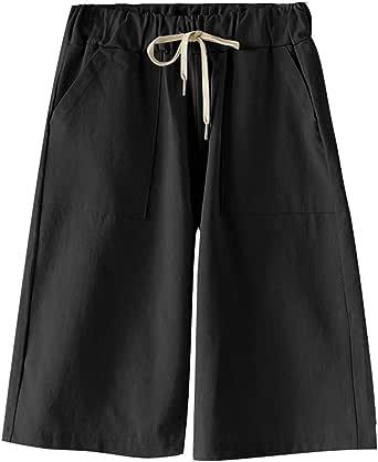 Elonglin Women's Bermuda Shorts Casual Summer Cotton Shorts Drawstring Elastic Waist Knee Length Loose Fit Straight Leg Large Size