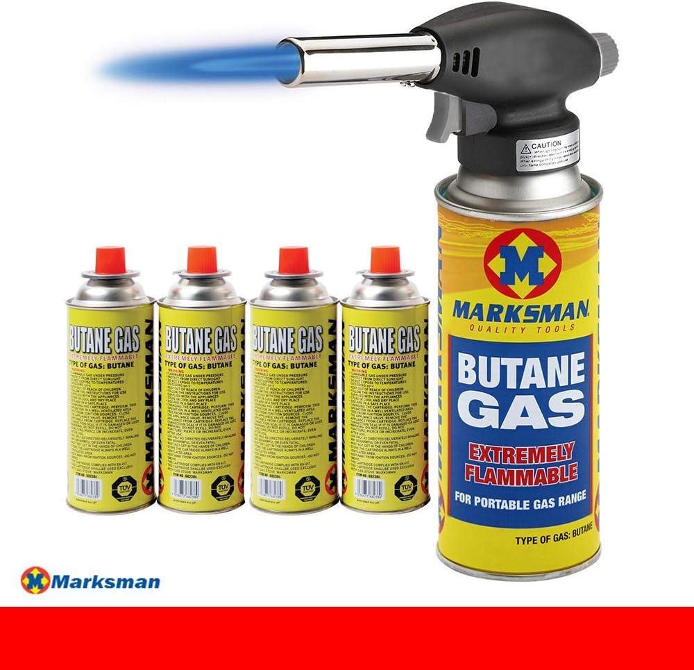 BLOWTORCH Kit de Chalumeau /à gaz butane lance-flammes allumage automatique soudure 4 GAS BOTTLE