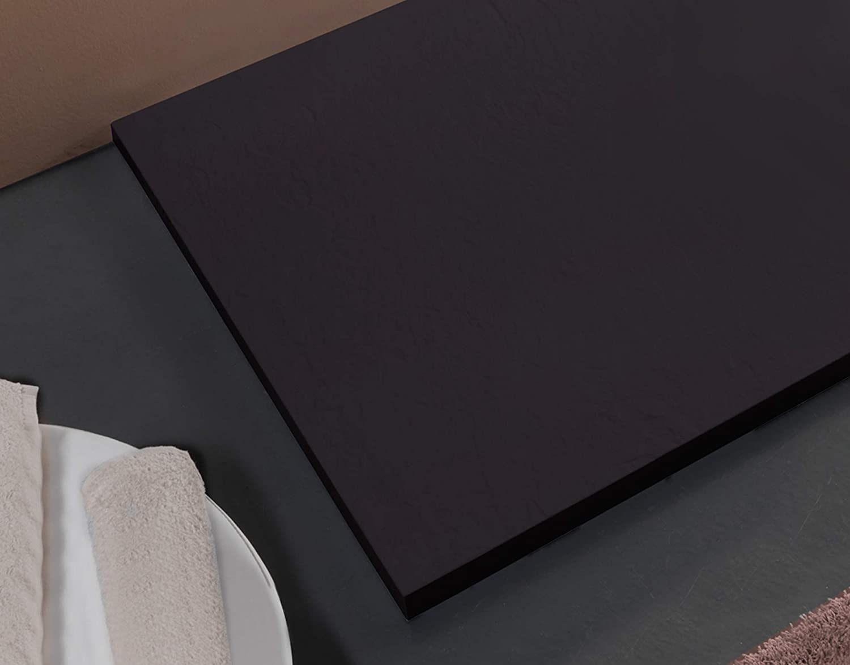 Essence Amalfi Receveur de Douche en Pierre marbr/ée avec gelcoat Marin Fabriqu/é en Italie Grille en Acier Inoxydable Couleur Anthracite 80x160 Anthracite