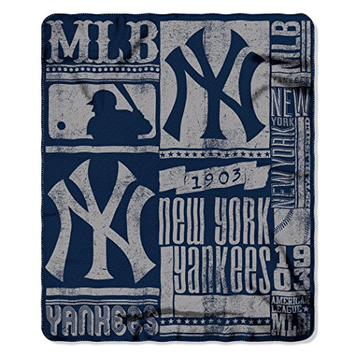 The Northwest Company MLB New York Yankees Strength Fleece Throw Blanket 50-inch by 60-inch, Blue