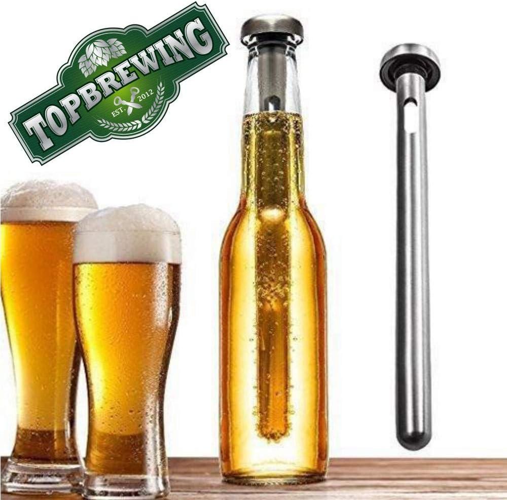 TopBrewingTM - Varillas refrigerantes portátiles para botellas (2 unidades), diseñadas para mantener tu cerveza fría y fría, de acero inoxidable de alta calidad