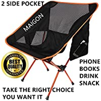 Maigon Portable Lightweight Camping Chair with 2 side Pocket With Carrying Bag Super Light but Very Resistant