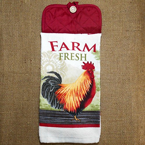 Farm Fresh Hanging Dish Towel, Rooster Themed Kitchen Decor (Hanging Rooster)