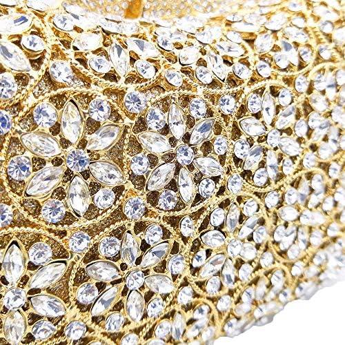 XLJJB Dazzling Femmes Cristal Sacs De Soirée De Mariage Embrayage Minaudière Sacs À Main Et Sacs À Main Petit Embrayage Champagne Crystalbag