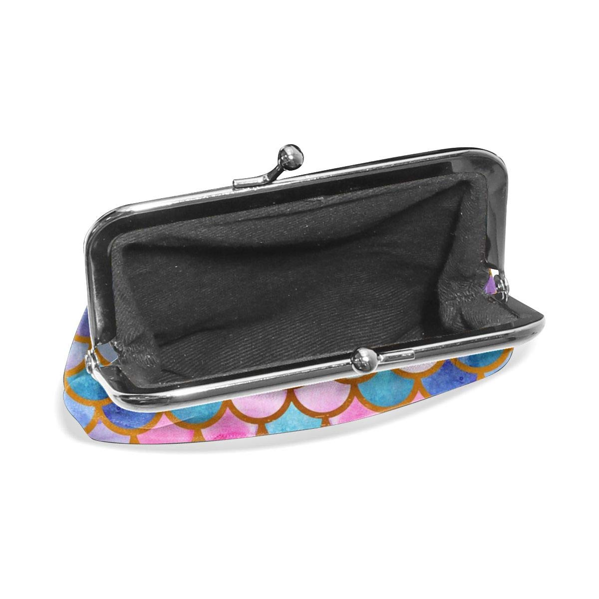 TYDhey Watercolor Fish Scales Classic Buckle Coin Purses Leather Kiss-Lock Change Wallets