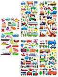 TRANSPORT18 - 5 Sheets 3D Stickers For Kids - Puffy Dimensional Stickers - (Car, Bus, Airplane, Jet, Sailboat, Train, Marine Stickers) - Vehicle Stickers, Size 3.75 X 7.5 Inch./sheet