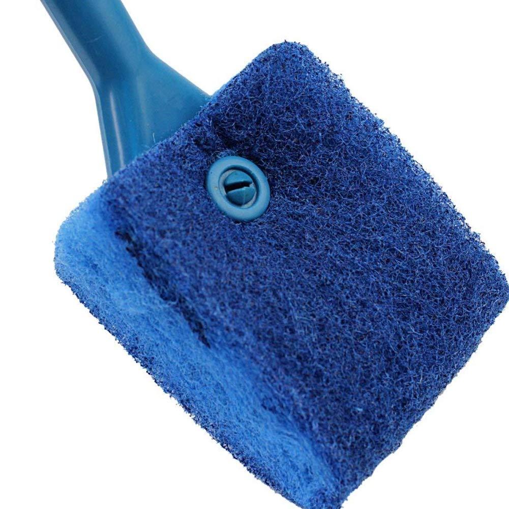 mi ji De Doble Cara Fish Tank Cleaner pr/áctica Esponja Cepillo de Limpieza con pl/ástico Antideslizante Mango Azul para Mascotas