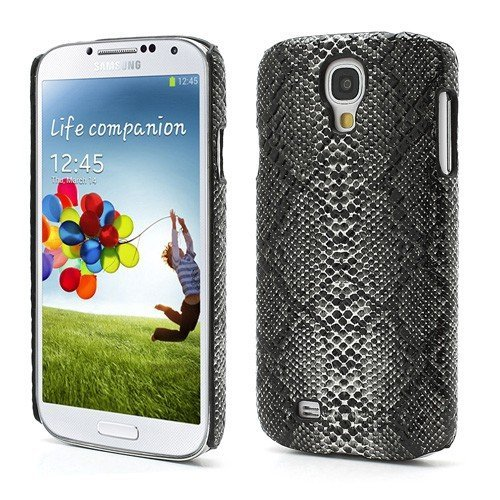 JUJEO Snake Skin Leather Coated Hard Plastic Case for Samsung Galaxy S4 IV i9500 i9502 i9505 - Non-Retail Packaging - Black