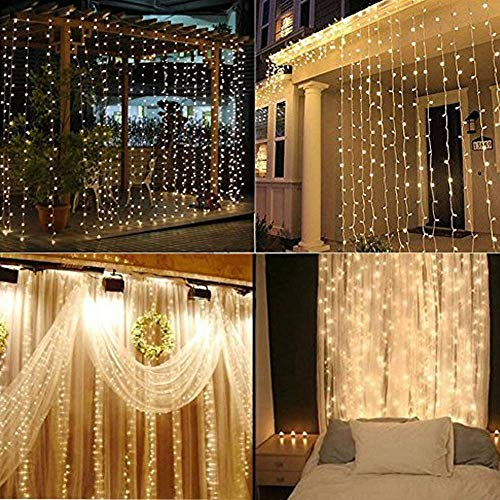 Safe Curtain Lights 9.8ft 300led Window Curtain Icicle Lights, Waterproof Christmas Curtain String Fairy Wedding Lights for Outdoor Party Home Kitchen Curtains Window Decorations (Warm White)