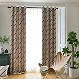 Jaoul Elegant Jacquard Striped Blackout Curtains for Living Room, Faux Suede Textured Thermal Insulated Room Darkening Grommet Drape, 52 x 96 Inch, 1 Panel (Coffee)