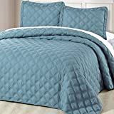 Home Soft Things Serenta Down Alternative Quilted Charleston 3 Piece Bedspread Set, Queen, Smoke Blue
