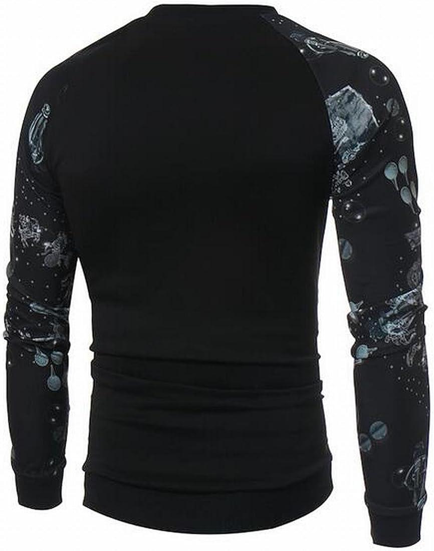 Ptyhk RG Mens Stripe Print Round Neck Long Sleeve Thicken Pullover Sweatshirt