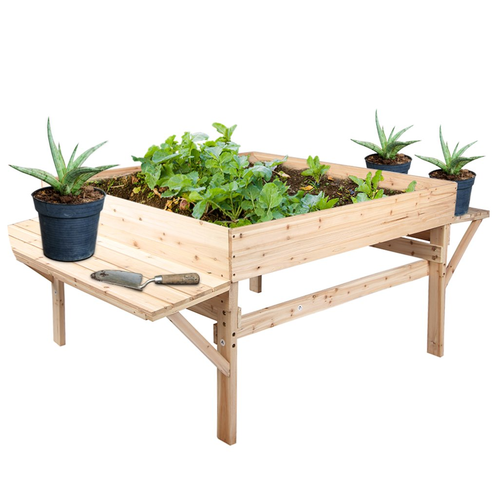 Wooden Garden Flower Planter Square Shape Large Space With Natural Color by VIVA HOME