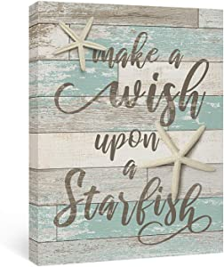 Adecuado Inspirational Wall Art Starfish Painting Beach Picture Teal Artwork Rustic Decor Ocean Framed Prints Ready to Hang for Bathroom Bedroom, Make a Wish Upon a Starfish, 12x16 Inch