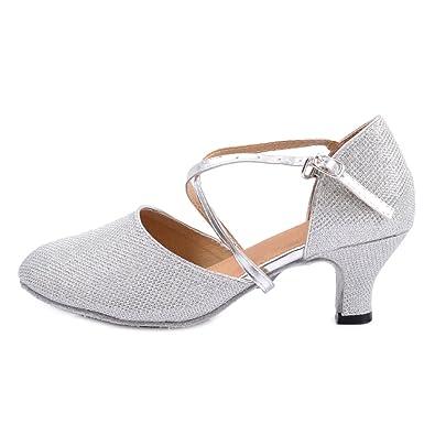 OCHENTA Women s Mid Low Heel Salsa Tango Ballroom Latin Party Dance Shoes  Indoor Silver 5.5CM 28e63820f318