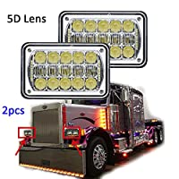 60W 5D Lens Rectangular 4x6 LED Sealed Beam Headlight H4651 H4652 H4656 H4666 H6545 For Freightliner/Kenworth/Peterbilt/International/Volvo/Sterling/Western Star Mack-(Chrome 2Pcs)