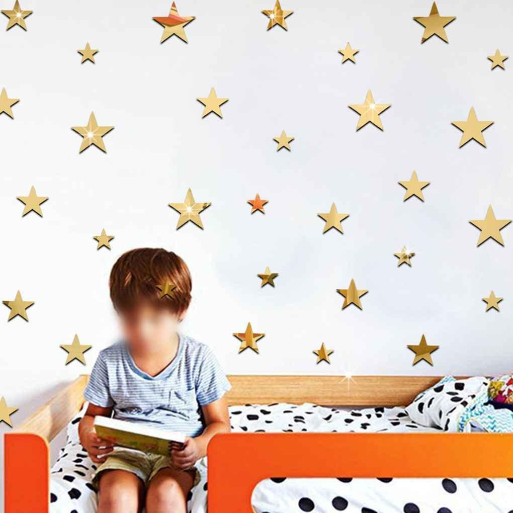 Masterein 20 teile satz Sternform Spiegel Aufkleber 3D Acryl Sterne Gespiegelte Abziehbilder DIY Zimmer Dekoration Tapete Silber