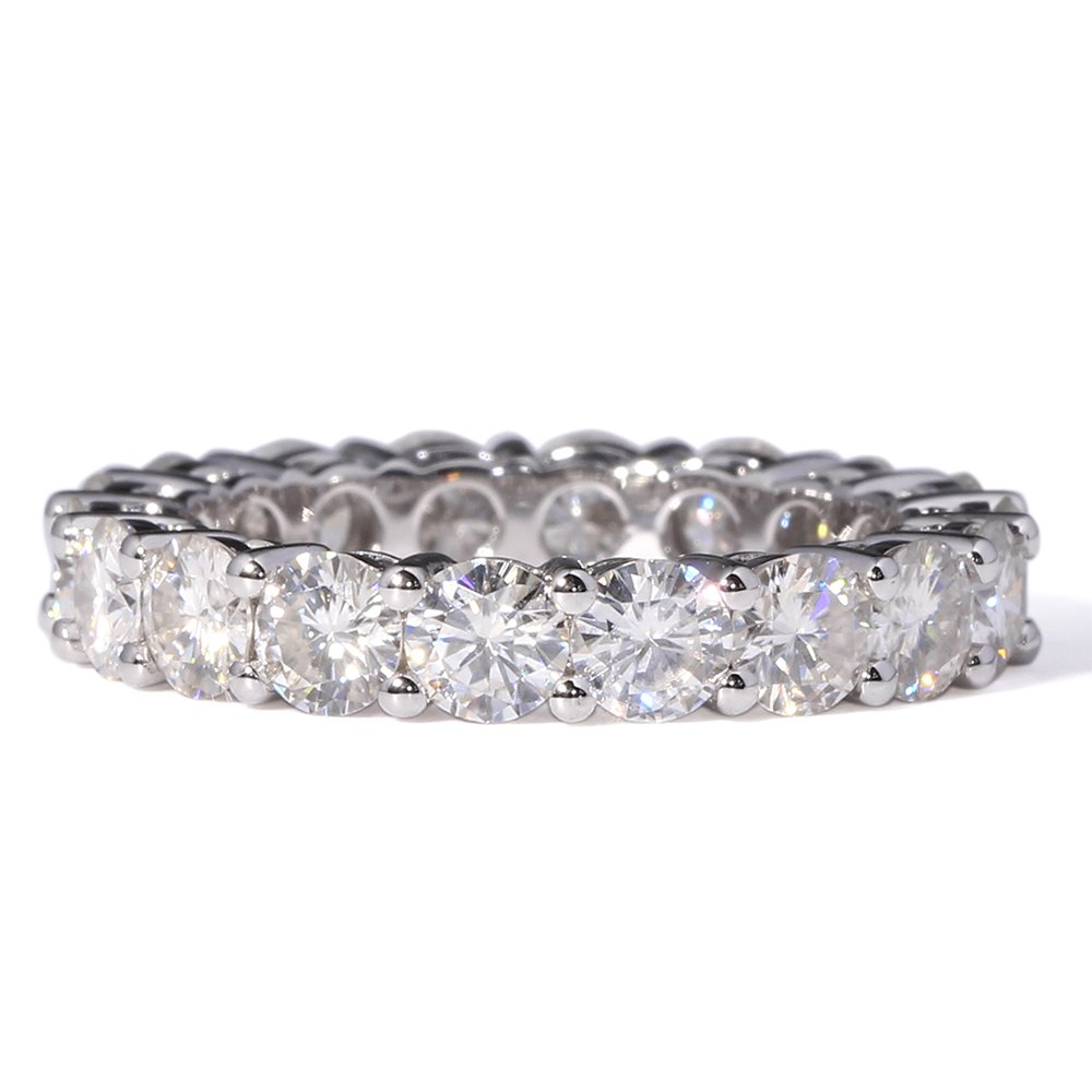 TransGems 2.5 CTW F Color Moissanite Simulated Diamond Eternity Engagement band 14K Gold for Women (6.5) by TransGems (Image #3)