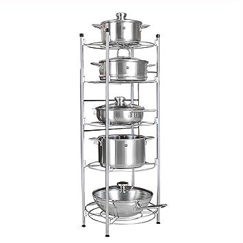 Estantes y soportes para ollas y sartenes HWF 5 Tier Kitchen Pot Rack Estante Organizador Free Standing Unit Almacenamiento Rack Multifuncional Acero ...