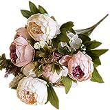 Leisial Ramo de Novia de Flores Artificiales Peonía Seda para para Boda Nupcial Partido Hogar Oficina de la Decoración,Rosa 43*7cm