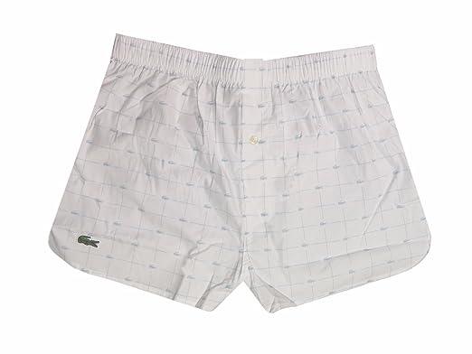 16fe683ea89b3f Lacoste Men s White Woven Croc-Print Boxer at Amazon Men s Clothing ...