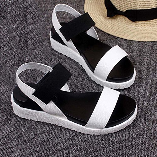 Mujeres Las Flat Sandals de Blanco Shoes del Sandalias Verano On Roman Peep Shoes Bohemian Sandals Shoes Slip Toe q5EZxv