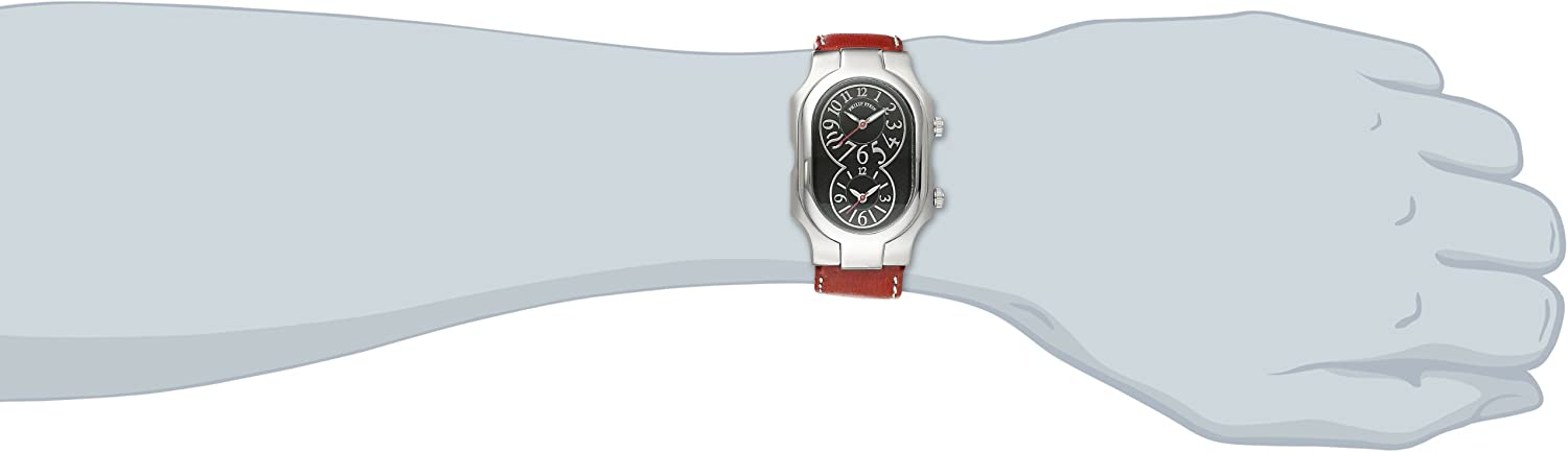 """Philip Stein Unisex 2-BK-CSTR """"Signature"""" Stainless Steel Watch with Leather Band"""
