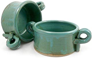 product image for American Made Stoneware Bistro Bowl for Soup, Chili, Rice, or Pasta; Set of 2, 16-oz (Teal Green)
