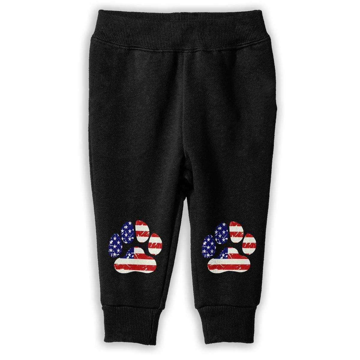 Unisex Baby Jogger Fleece Pants American Flag Dog Paw Sweatpants