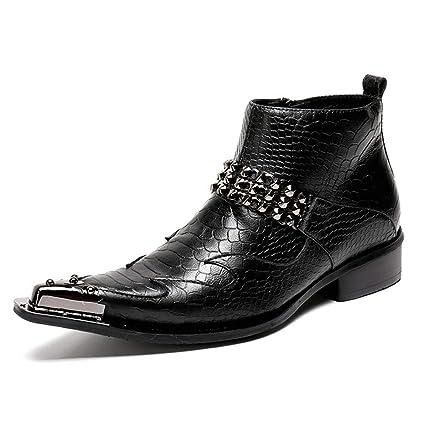 Hombres Botines Botas De Vaquero Biker Clásico Cuero Zapatos Negro Noche Fiesta Tamaño 39-46