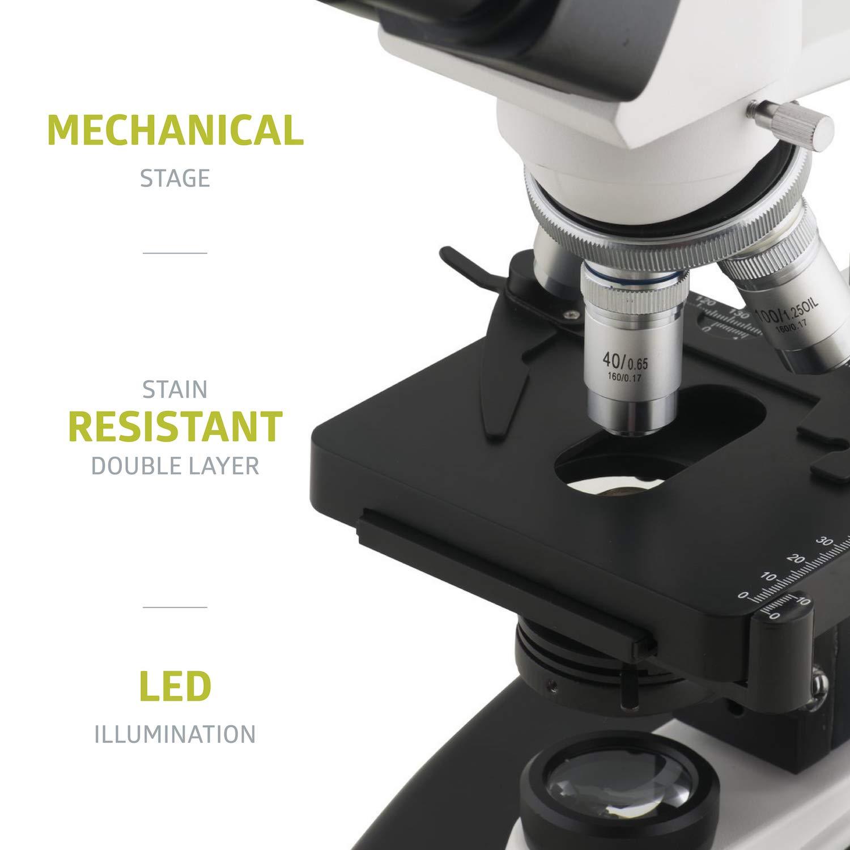 2500X Magnification 40X Pearington Metal Binocular Stereo Microscope; Science STEM Student Classroom Supplies; LED Illumination; Examinations and Laboratory applicants