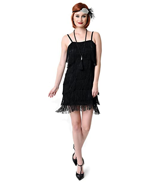 dc4497a0b08a Unique Vintage 1920s Style Black Speakeasy Tiered Fringe Flapper Dress
