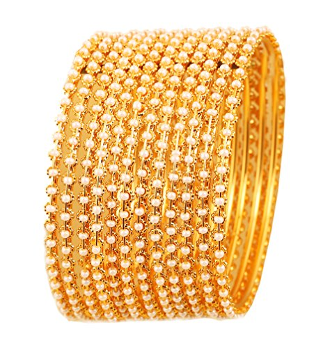 Touchstone New Pearl Bangle Collection. Indian Bollywood Traditional and Exclusive Thin Designer Jewelry Bangle Bracelets Embellished with Faux Pearls. Set of 12. in Antique Gold Tone for - Pearl Bangle Designer