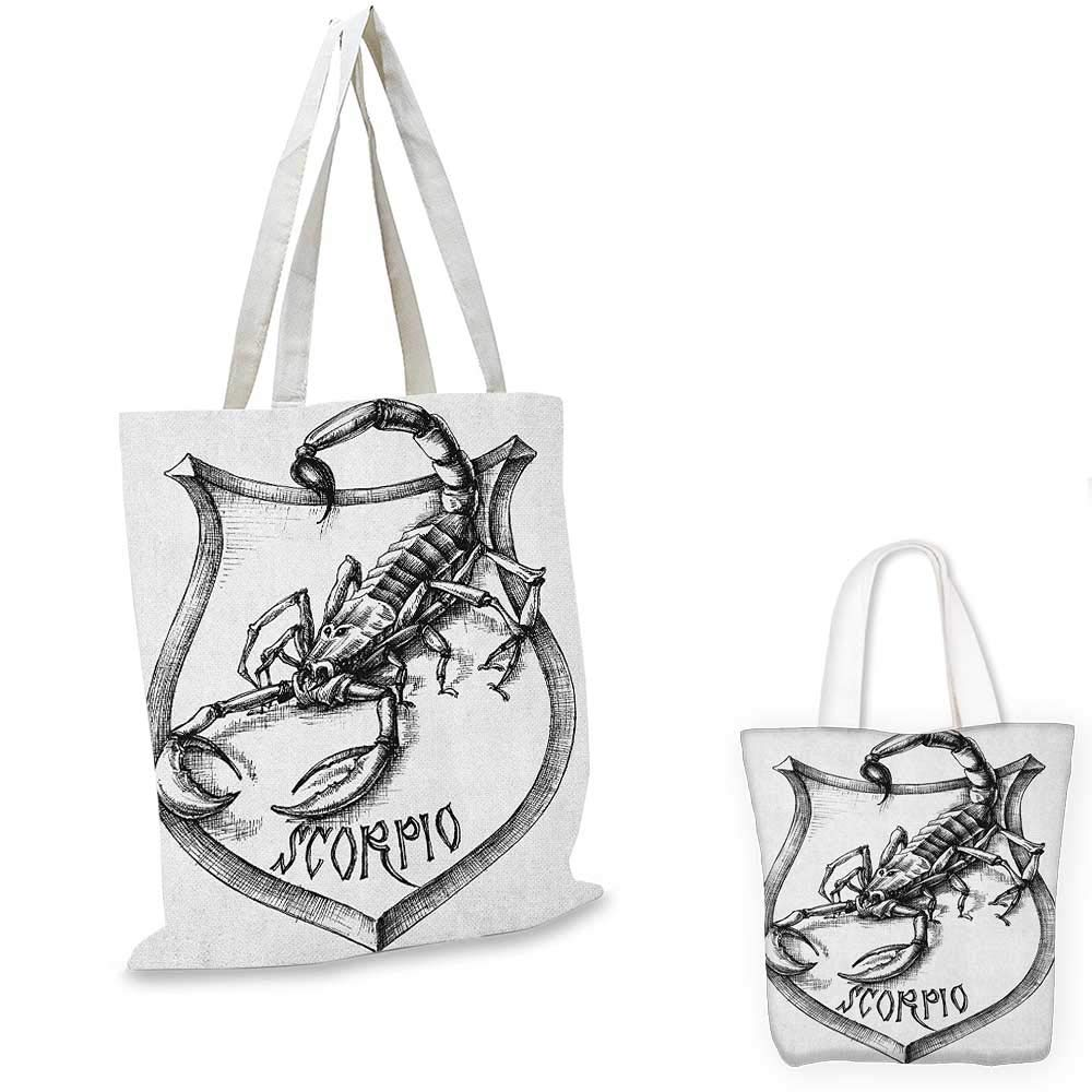 Astrology canvas messenger bag Black and White Heraldry Zodiac Scorpio Image Graphic with Claws Stars Design canvas beach bag Black White 12x15-10