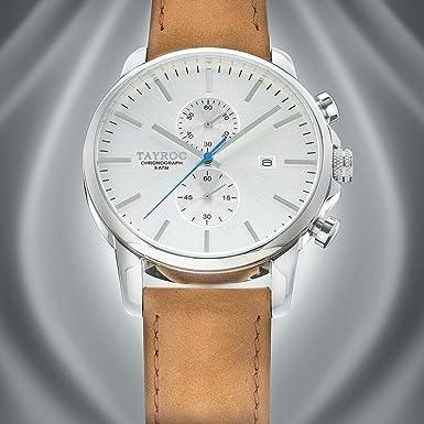 Reloj hombre RELOJ tayroc Iconic Plata Cronógrafo Acero inoxidable Cuarzo Pulsera de piel txm091: Amazon.es: Relojes