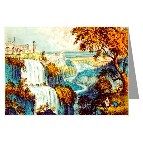 Single Greeting Card of Currier And Ives Handcolored Lithograph depicting the Waterfall at Tivoli, Italy.