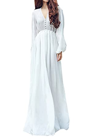 Women Long Sleeve Boho Chiffon White Maxi Dress at Amazon Women's ...