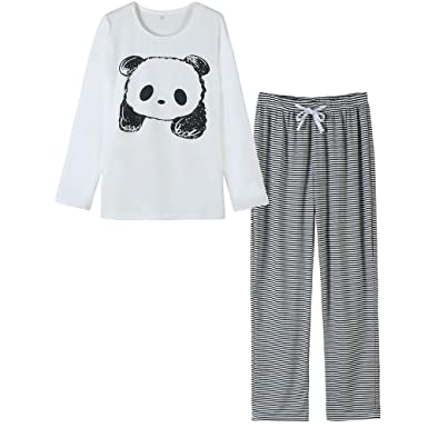 f14f51af027a Ventelan Women s Cute Panda Striped Long Sleeve Sleepwear Pjs Pajama Set  Nighty XS White