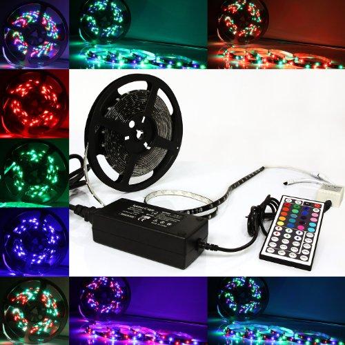 5m Meter 16 ft Feet RGB 3528 SMD LED 300 LEDs Waterproof Flexible Light Strip IR 44 Key + - Optix Light Three