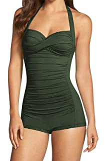 b45e6f0b85 Sovoyontee Women's One Piece Tummy Control Swimwear Boyleg Ruched Swimsuit