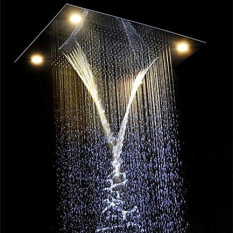 Cascada y - Cabezal de ducha rectangular con 4 funciones ...