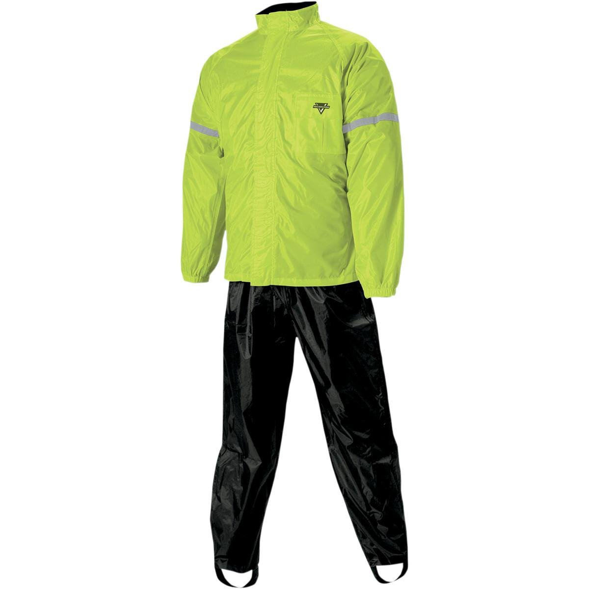 Nelson-Rigg WP-8000 Weatherpro Men's 2-Piece Sports Bike Motorcycle Rain Suits - Black/Hi-Visibility Yellow / Small