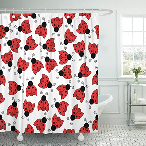 MAYTEC Shower Curtain Colorful Abstract Ladybug Red Beetle Waterproof Polyester Fabric 72 x 72 inches Set with Hooks Ladybug Hooks